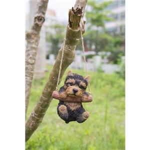 """Hi-Line Gift Decorative Garden Statue - Yorkshire Puppy Hanging - 5.5"""""""