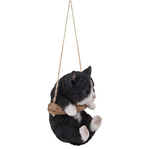 "Hi-Line Gift Decorative Garden Statue - Kitten Hanging - Black/White - 5"""