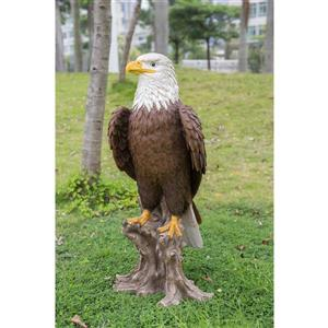 """Statue de jardin, aigle à tête blanche avec souche, 26,8"""""""