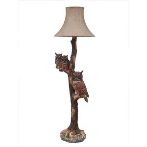 Hi-Line Gift Stand Lamp - Owl Family - Brown
