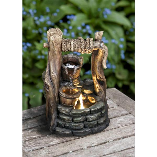 Hi-Line Gift 2 Buckets Garden Fountain - LED Light - Bronze