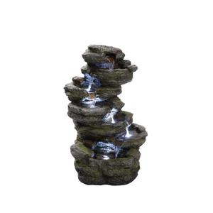 Hi-Line Gift Multi Level Rock Garden Fountain - LED Light