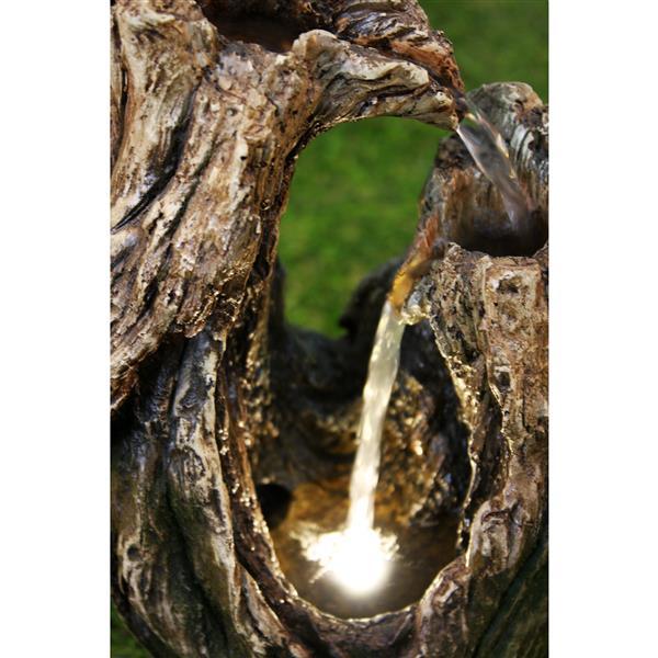 Hi-Line Gift Tree Trunk Garden Fountain - LED Light