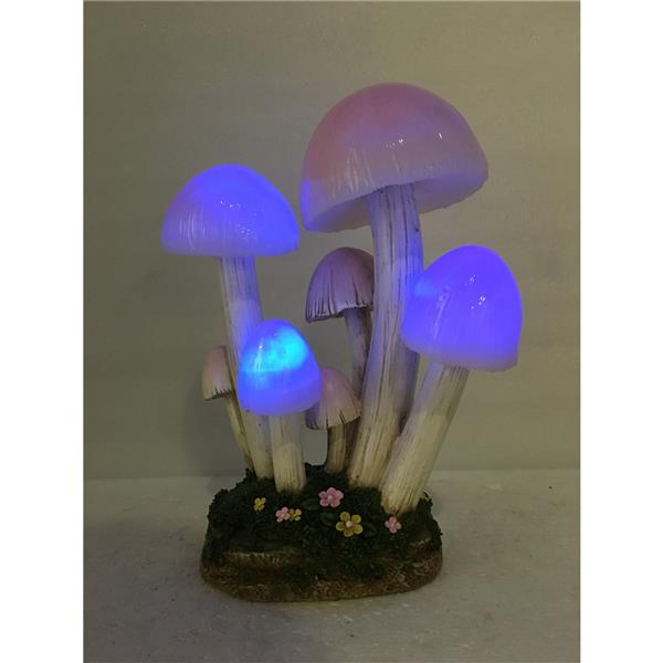 "Hi-Line Gift Decorative Garden Statue - Mushroom - Solar LED Lights - 10"""