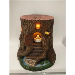 "Hi-Line Gift Decorative Garden Statue - Tree Stump House - Solar LED -15"""