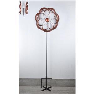Piquet de jardin, moulin à vent floral, cuivre