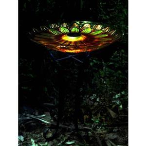 Bain d'oiseau en verre floral, éclairage solaire, orange