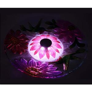 Bain d'oiseau en verre floral, éclairage solaire, rose