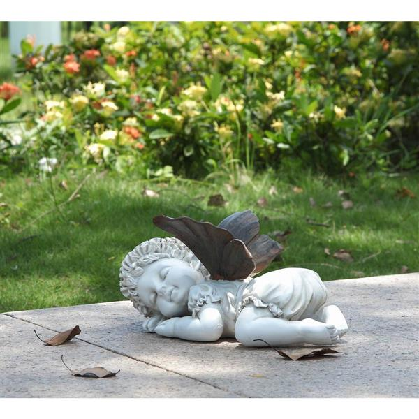 Hi-Line Gift Decorative Garden Statue - Baby Fairy Sleeping - 5.25""