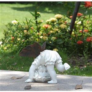 "Hi-Line Gift Decorative Garden Statue - Baby Fairy Tumbling - 7.8"""