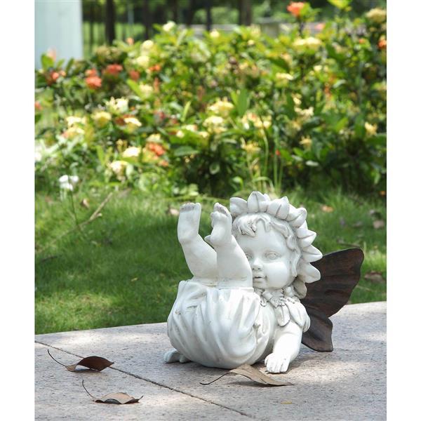 "Hi-Line Gift Decorative Garden Statue - Baby Fairy - 7.25"""