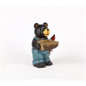 """Statue de jardin, ourson noir avec bain d'oiseau, 16"""""""