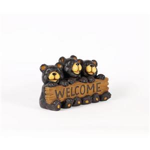 """Statue de jardin,famille ours avec panneau « Welcome », 8,5"""""""