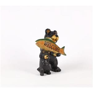 Hi-Line Gift Decorative Garden Statue - Bear With Welcome Sign - 11.25""