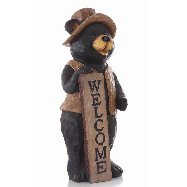 """Hi-Line Gift Decorative Garden Statue - Bear With Welcome Sign - 30"""""""