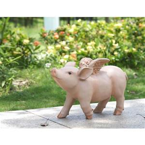 """Hi-Line Gift Decorative Garden Statue - Laughing Pig With Wings - 8.87"""""""