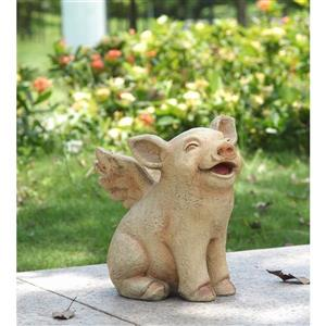 """Hi-Line Gift Decorative Garden Statue - Pig With Wings  - 8.5"""""""