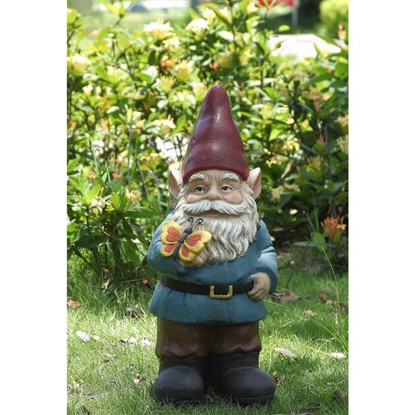 Lawn Or Garden BAOLI Gnome,5.7 Tall 5.7 Gnome Rides Corgi Personalise Resin Waterproof Garden Gnome Decorative Statue for Home