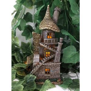 "Hi-Line Gift Decorative Garden Statue - Fairy Garden House - LED - 13"""