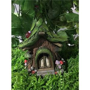 Hi-Line Gift Decorative Garden Statue - Fairy Garden House - LED - 10""