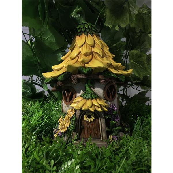 """Statue de jardin, maison avec toit en tournesol, DEL, 11,5"""""""