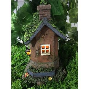 """Hi-Line Gift Decorative Garden Statue - Fairy Garden Cottage - Solar -11"""""""