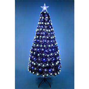 Hi-Line Gift Christmas Tree - Fiber Optic - Blue/White Stars - 72""