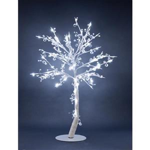 Arbre orné de cristal illuminé, blanc, 96 lumières DEL