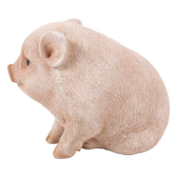 "Hi-Line Gift Decorative Garden Statue - Chubby Piglet - Pink - 4.57"""