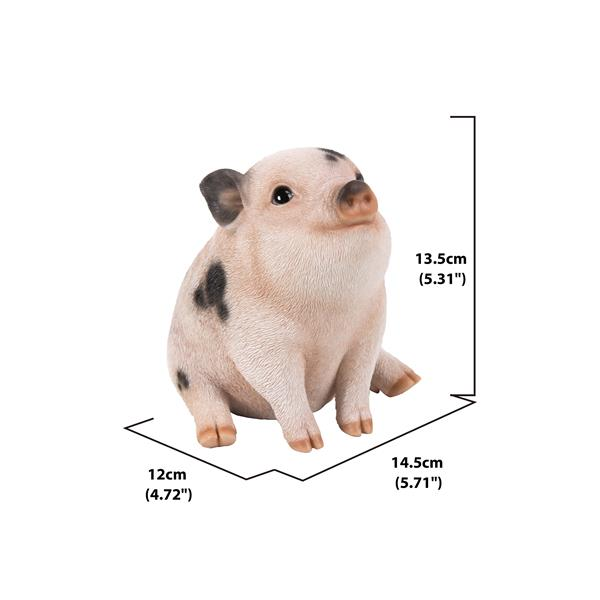 "Hi-Line Gift Decorative Garden Statue - Chubby Piglet - Pink/Black - 5"""