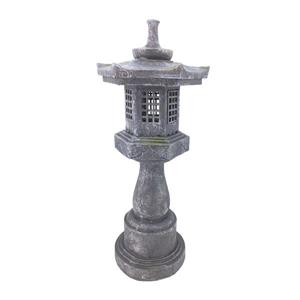 "Hi-Line Gift Decorative Garden Statue - Grey Stone Pagoda Lantern - 38"""