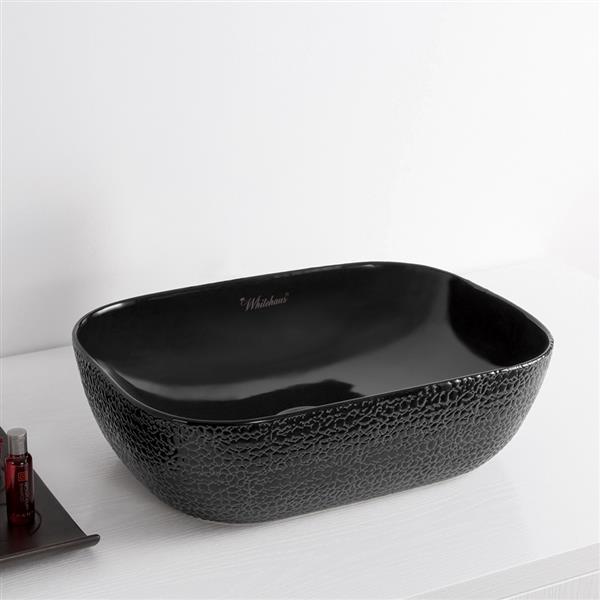 Whitehaus Collection Rectangular Bathroom Sink - 19.75-in x 15.25-in - Black