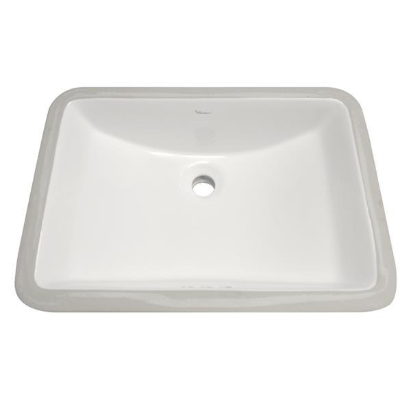 Whitehaus Collection Rectangular Undermount Bathroom Sink with Overflow - 20.75-in
