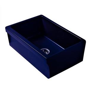 Whitehaus Collection Front Apron Fireclay Kitchen Sink - Single Bowl - Blue