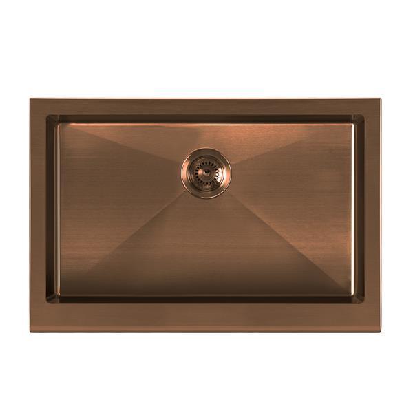 Whitehaus Collection Undermount Front Apron Kitchen Sink - Single Bowl - Copper