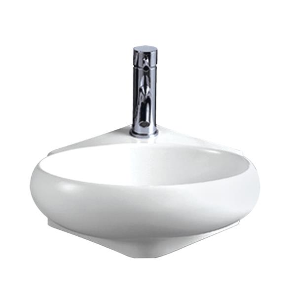Whitehaus Collection Oval Wall Mount Bathroom Sink - 15-in - White