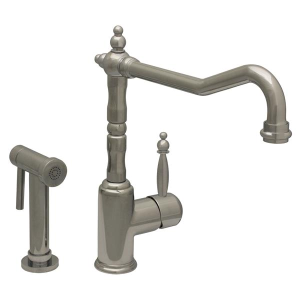 Whitehaus Collection Kitchen Faucet with Side Sprayer - Chrome