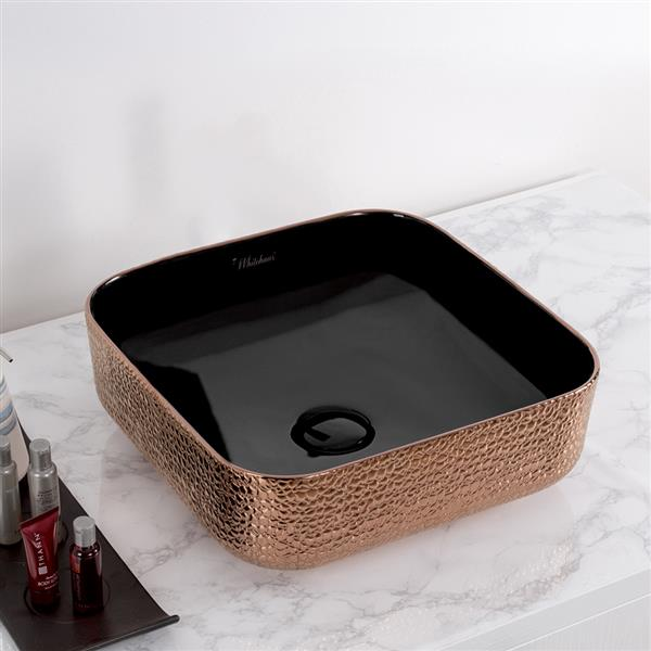 Whitehaus Collection Square Bathroom Sink - 15.5-in x 15.-in - Rose Gold and Black