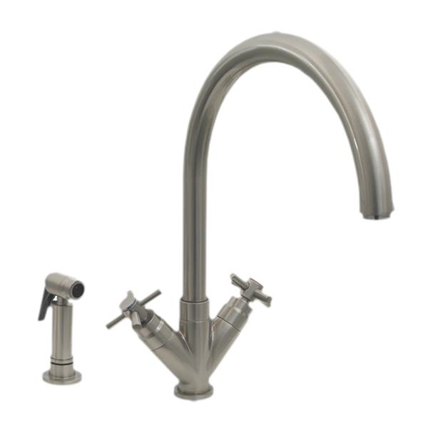 Whitehaus Collection Kitchen Faucet with Side Sprayer - 2-Handle - Brushed Nickel