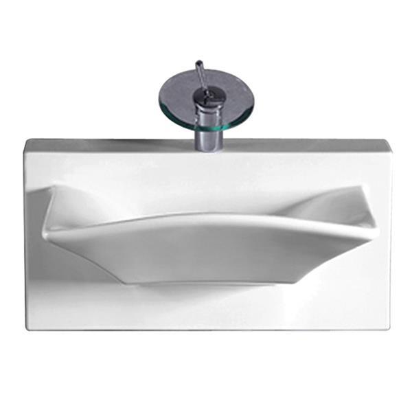 Whitehaus Collection Rectangular Wall Mount Porcelain Bathroom Sink - 28-in - White