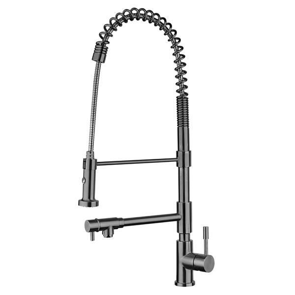 Whitehaus Collection Flexible Pull Down Spray Kitchen Faucet - Brushed Stainless
