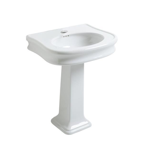 Whitehaus Collection Pedestal Bathroom Sink with Overflow - 34-in - White