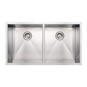 Whitehaus Collection Commercial Undermount Sink - Square Double Bowl - Stainless