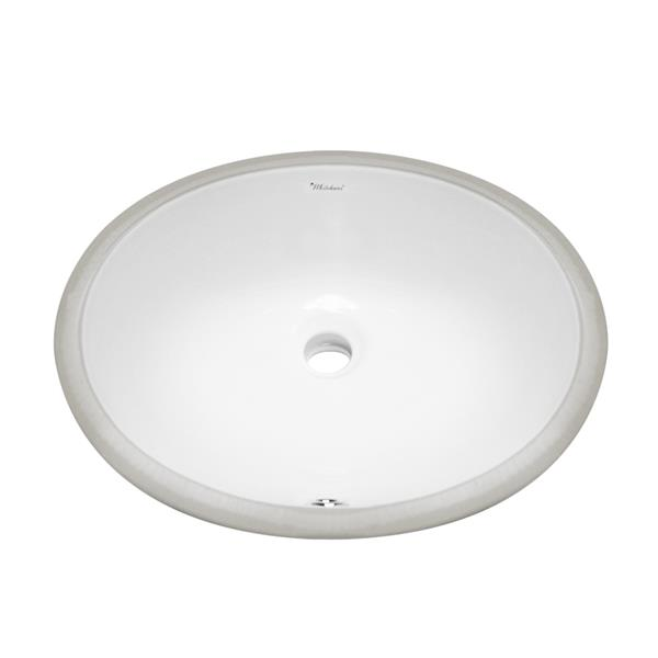 Whitehaus Collection Oval Undermount Bathroom Sink with Overflow - 16.25-in - White