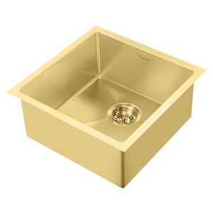 Whitehaus Collection Dual Mount Kitchen Sink Set - Square Single Bowl -Gold Brass