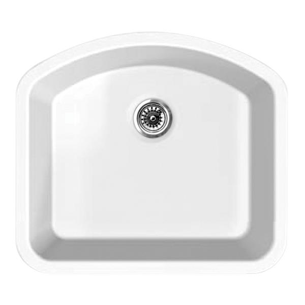 Whitehaus Collection Fireclay Undermount Kitchen Sink - D-Shaped Single Bowl