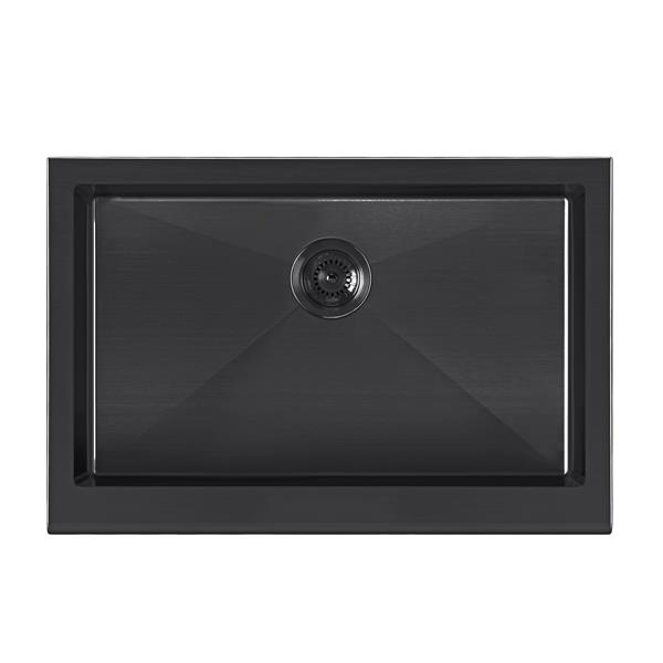 Whitehaus Collection Undermount Front Apron Kitchen Sink - Single Bowl - Black