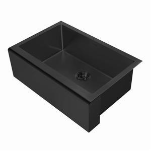 Whitehaus Collection Undermount Front Apron Kitchen Sink - Single Bowl - Black