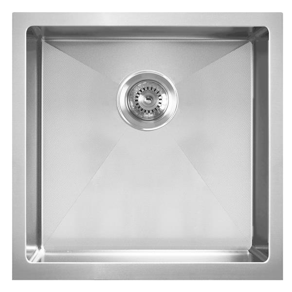 Whitehaus Collection Dual Mount Kitchen Sink - Square Single Bowl - Stainless