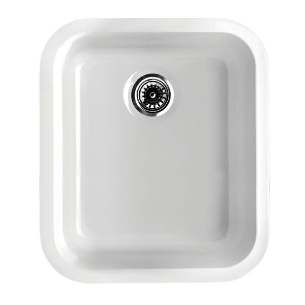 Whitehaus Collection Fireclay Undermount Kitchen Sink - Single Bowl - White